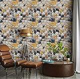 Wolpin Pegatinas de pared DIY 3D Stone Wallpaper (45 cm x 10 m) Nature Rocks Restaurants, diseño de sala de estar, pegatinas autoadhesivas, color amarillo
