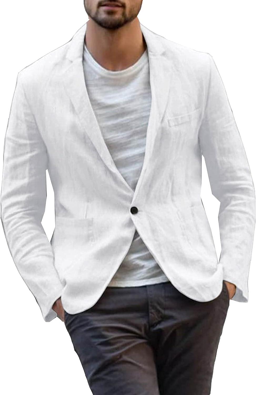 Mens Casual 1 Buttons Slim Fit Casual Sport Coat Jacket Cotton Linen Work Wear Blazer