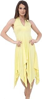 Momo&Ayat Fashions Ladies Jersey Lightweight Halterneck Hanky Hem Midi Dress AUS Size 8-26
