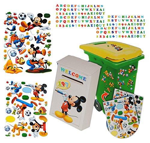 alles-meine.de GmbH 229 TLG. Set Aufkleber für Mülltonne + Briefkasten - Disney Mickey Mouse Donald - Wasserfest Sticker - für Innen & Außen - Wetterfest - Playhouse Entenhausen