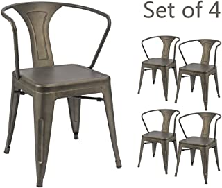 Devoko Gun Metal Chair Indoor-Outdoor Tolix Style Kitchen Dining Chairs Stackable Arm Chairs Set  sc 1 st  Amazon.com & Amazon.com: Metal - Chairs / Kitchen u0026 Dining Room Furniture: Home ...