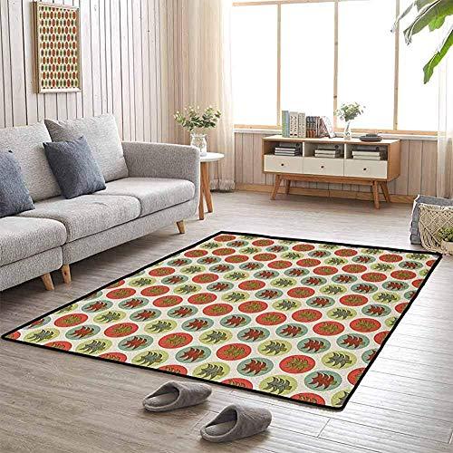 LAURE Tappetino da Campeggio Abete Rosso Astratto Abeti su Macchie di Colore Pastello Tema Natalizio Cartoon Forest Flagship Carpets