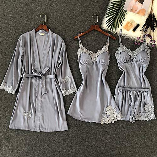 JFCDB Zomer pyjama,4-delige dames pyjama-riem met borstkussen Nachtshort met riem Vestenset Nachtkleding, blauw en grijs, L