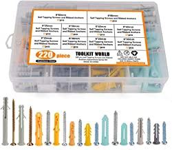 Anchor Screws, Self Drilling Drywall Plastic Ribbed Expansion Pipe Tube Hollow-Wall Anchor with Screws Assortment Kit, 220 Pieces