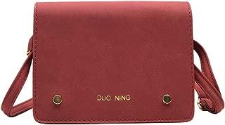 Simple Shoulder Bag Ladies Crossbody Bag Strap Zipper Travel Party Solid Color Totes(Red)