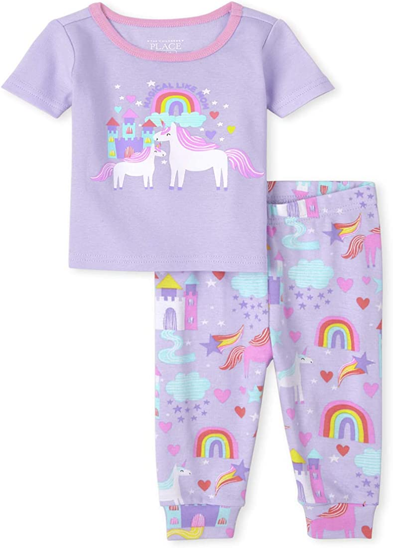 The Children's Place Baby and Toddler Girls Glow Magical Unicorn Snug Fit Cotton Pajamas