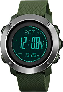 Mens Sports Digital Watch with Compass Barometer Altimeter Timer Stopwatch Water Resistant for Outdoor Hiking Adventure