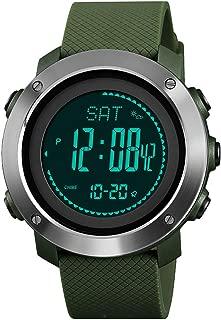 Men Women Outdoor Compass Watch with Altimeter Temperature Pedometer Barometer, Waterproof Digital Sport Watch