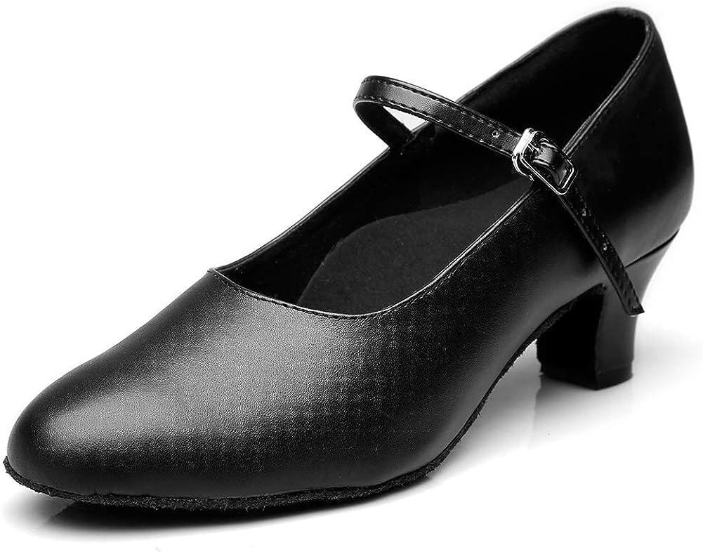 MSMAX Women's Black Pump Dance Shoes Latin Salsa Tango Practice