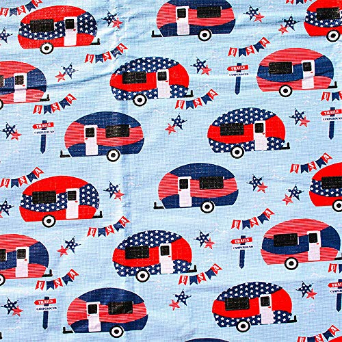 "Retro RV Camping Vinyl Flannel Back Tablecloth - 82"" x 54"" (Blue Patriotic Camper ) Happy Camper"