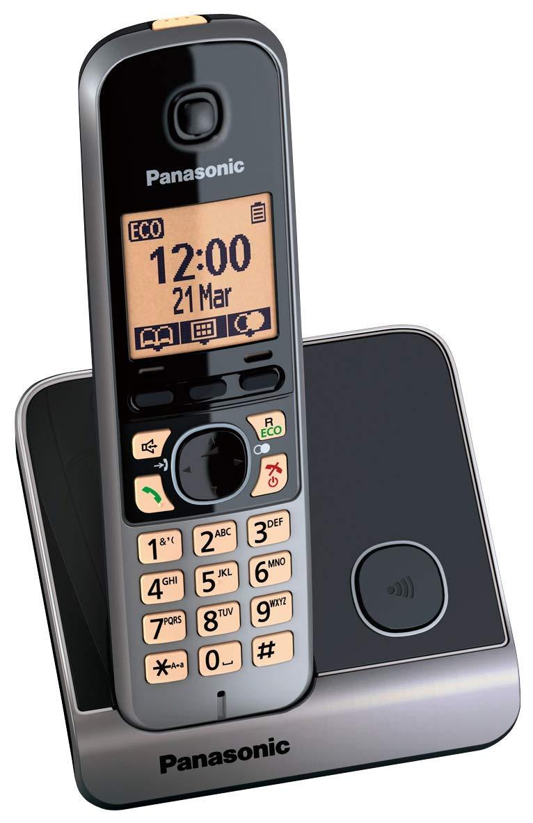 Panasonic KX-TG6751 - Teléfono fijo inalámbrico (Repetidor, teclado y LCD Iluminado, identificador de llamadas 100 números, bloqueo de llamadas, modo ECO, manos libres), color gris: Amazon.es: Electrónica
