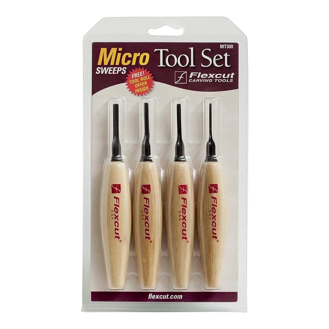 Flexcut Carving Tools, Sweep Micro Tool Set, Razor Sharp High Carbon Steel Blades, Set of 4 (MT300)