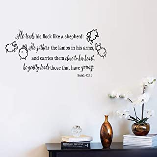 Removable Vinyl Wall Stickers Act Mural Decal Art Home Decor He Tends His Flock Like A Shepherd He Gathers The Lambs in His Arms Isaiah 40:11 for Nursery Kids Room Home Decor