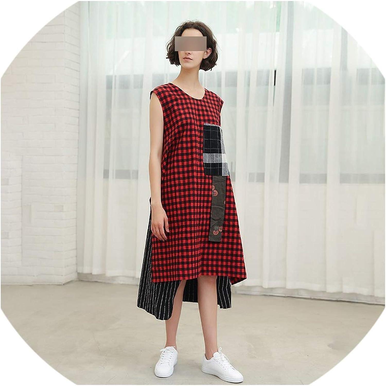 Cute Emma Patchwork Plaid Dresses of The Big Sizes Round Neck Sleeveless Asymmetric Hem Women's Dress Female Summer