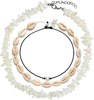 Kinimore Shell Necklace Choker Mixed 3 Strands Puka Sea Vsco Cowrie Choker Necklace Jewelry for Women Girls