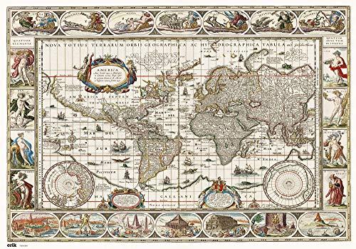 Grupo Erik Vade mapa mundo antiguo Tapete escritorio/Vade escolar multifuncional, Protector escritorio, Producto con licencia oficial