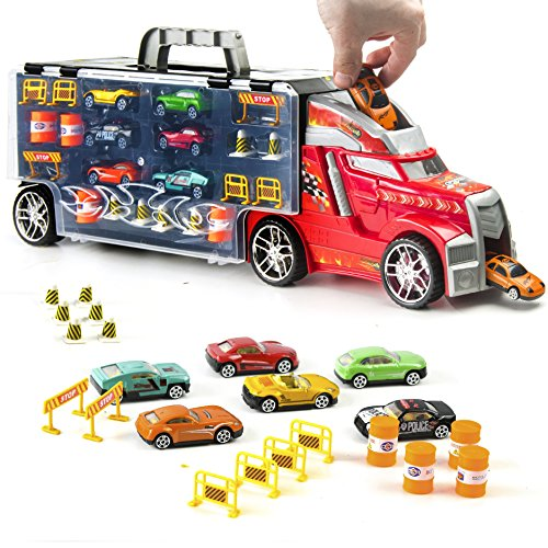 Prextex 21'' Car Carrier Toy Truck with 6 Toy Cars and Accessories - Detachable...