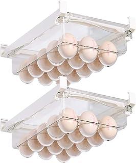 Shopwithgreen Lot de 2 boîtes de rangement pour réfrigérateur à œufs avec poignée - Pour 30 œufs