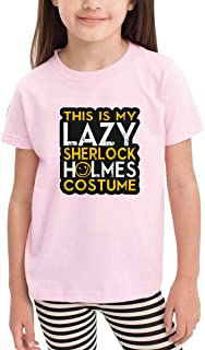 Cute Cotton Toddler This is My La.zy Sh-erlock Ho-lmes Cost-ume Hallo-ween. T-Shirt Pink