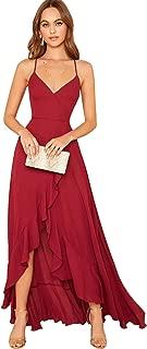 Women's V Neck Sleeveless Ruffle Slit Crisscross Backless Lace Up Maxi Party Evening Dress