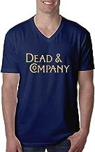 zwer4je-tee Men's John Mayer Dead Company Band Font V-Neck Tshirts Navy