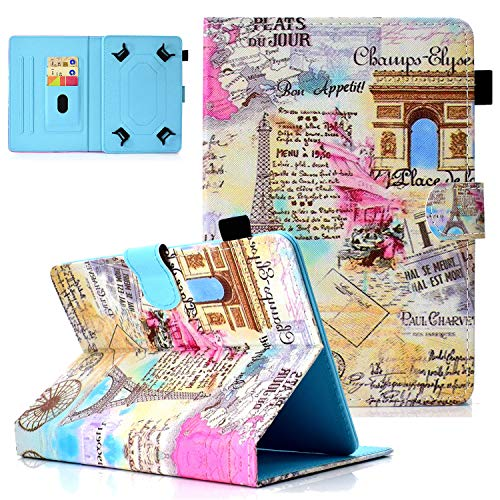 8 Inch Tablet Universal Case, Popbag Folio Magnetic Stand Cover with Pencil Holder for Galaxy Tab A 8.0/Tab E/iPad Mini 5 2019/ Mini 4/3/2/1 and More 7.85'/ 7.9'/ 8' Inch Tablets, B-Romantic Paris