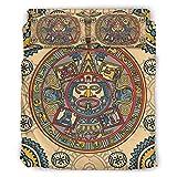 Annlotte Juego de ropa de cama de 4 piezas, diseño azteca de Inca Maya, suave, sin arrugas, 175 x 218 cm, color blanco