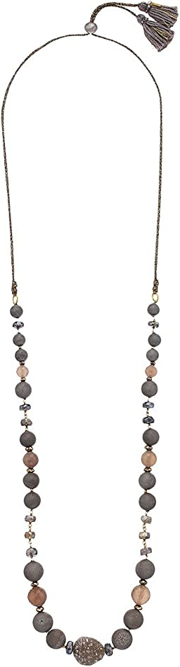 Chan Luu - 18 Karat Gold Plated Adjustable Necklace With Single Agate and Semi Precious Stones