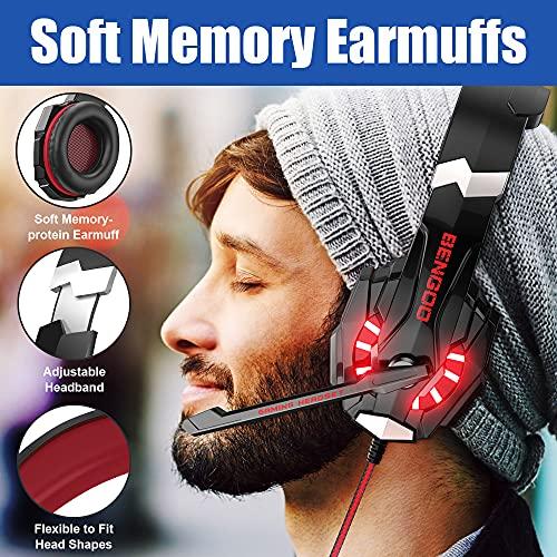 Bengooゲーミングヘッドセットps4ヘッドセットps5ヘッドセットゲーミングヘッドホンヘッドホン有線マイク付きヘッドホンヘッドフォン重低音高音質3.5mm端子PS4PS5PCに対応G9000レッド
