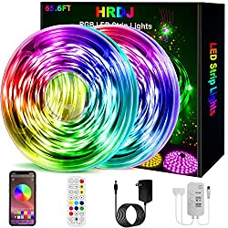 HRDJ Led Strip Lights 65.6 Feet, Music Sync Color Changing Led Light Strip 5050 SMD Flexible Rope Lights with 24Key Remote APP Control Led Lights for Bedroom Party
