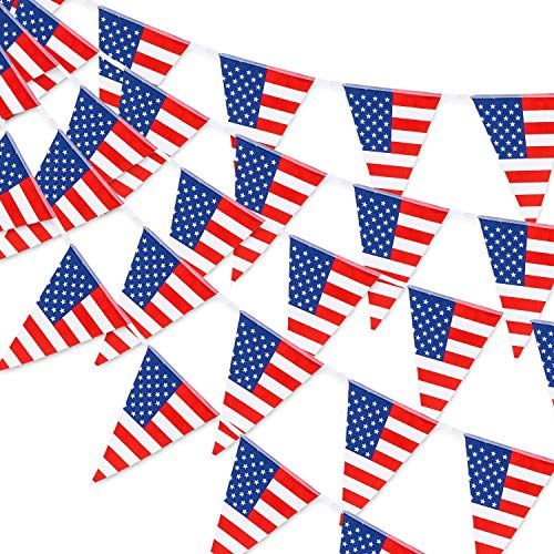 Whaline 30pcs Large USA Patriotic Bunting Banner American July 4th Triangle Flag Garlands Star-Spangled Pennant String Banner for Independent Day Party Grand Opening Home Office Decoration