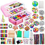 Chibbe Kids Arts and Crafts supplies – Assorted Craft Art Supply Kit Sets for DIY Crafting Homeschool Supplies Materials Arts Crafts Set Include Durable Storage Organizer Box for Kids and Adults(pink)