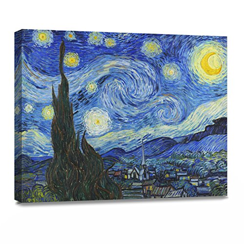 ArtKisser Painting Starry Night 1889 by Vincent Van Gogh Canvas Wall Art Modern Giclee Abstract Landscape Home Decor Wooden Framed Stretched Prints on Canvas Reproduction Ready to Hang 16' x 12'