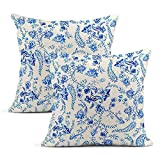 Juego de 2 fundas de almohada Batik de algodón, azul y blanco, acuarela, floral, cuadrada, para el hogar, sala de estar, dormitorio, sofá, silla, funda de cojín, 45,7 x 45,7 cm