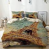 Nonun Juego de Funda nórdica Ilustración de Grunge de la Torre Eiffel en diseño de Estilo clásico Obra de Arte de Color Beige rústico Decorativo Juego de Cama de 3 Piezas con 2 Fundas de Almohada