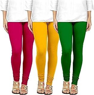 Swastik Stuffs Soft & Stretchable Cotton Lycra Churidar Free Size Leggings Combo Offer for Women (SSLPYG3_Pink,Yellow,Gree...