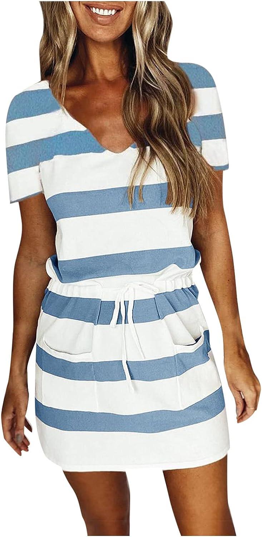 ORT Summer Dresses for Women 2021, Womens Beach Casual V Neck Print Short Dress Loose Swing Sling Sun Dresses with Belt