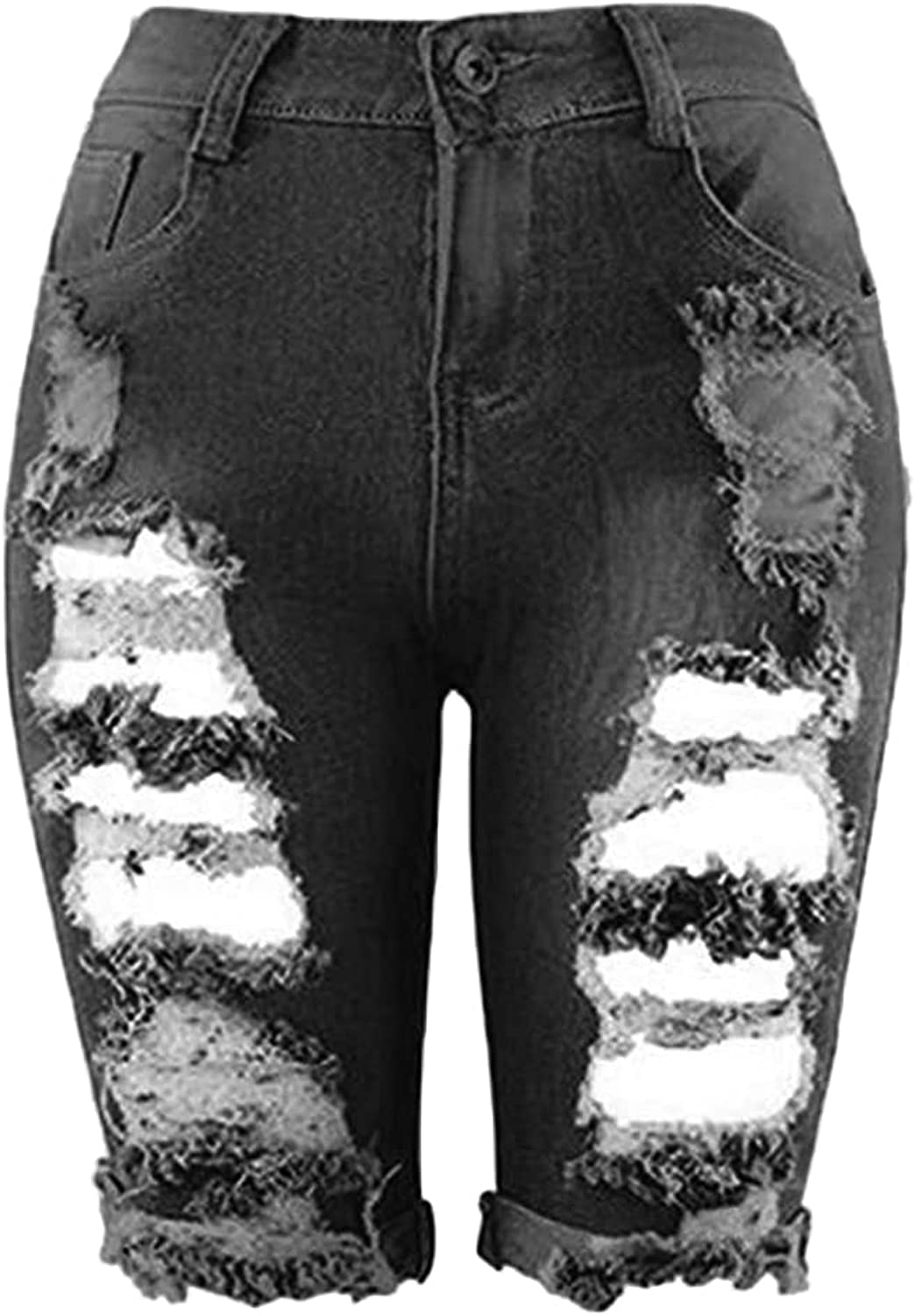 Women's Ripped Jean Max 42% OFF Bermuda Shorts Super sale period limited Destroyed High Hole Waist Den
