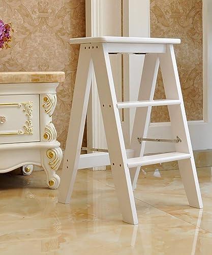 DNSJB échelle en Bois Chaise Chaise Pliante Escalier Tabouret Bibliothèque Trois Marches Multicouches échelle Multi-Fonctions (Couleur   blanc)