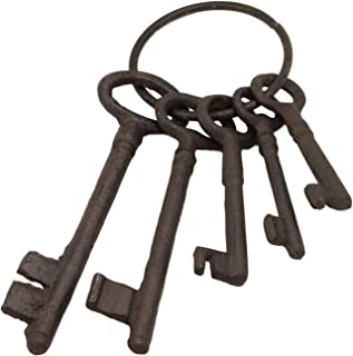 Ebros Gift Realistic Vintage Antique Design Cast Iron Jailor Keys Set of 5 in Different Sizes and Style On Ring Old World Halloween Costume Prop Pirate Skeleton Ship Jail Key Pack