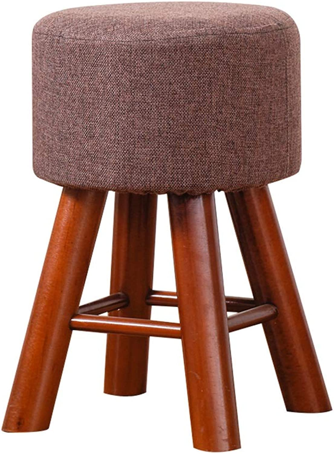 AGLZWY Sofa Stool Multipurpose Solid Wood Frame Cloth Breathable Non-Slip Portable Round Simplicity Living Room Change shoes Bench Makeup Low, Brown, White, Wood color