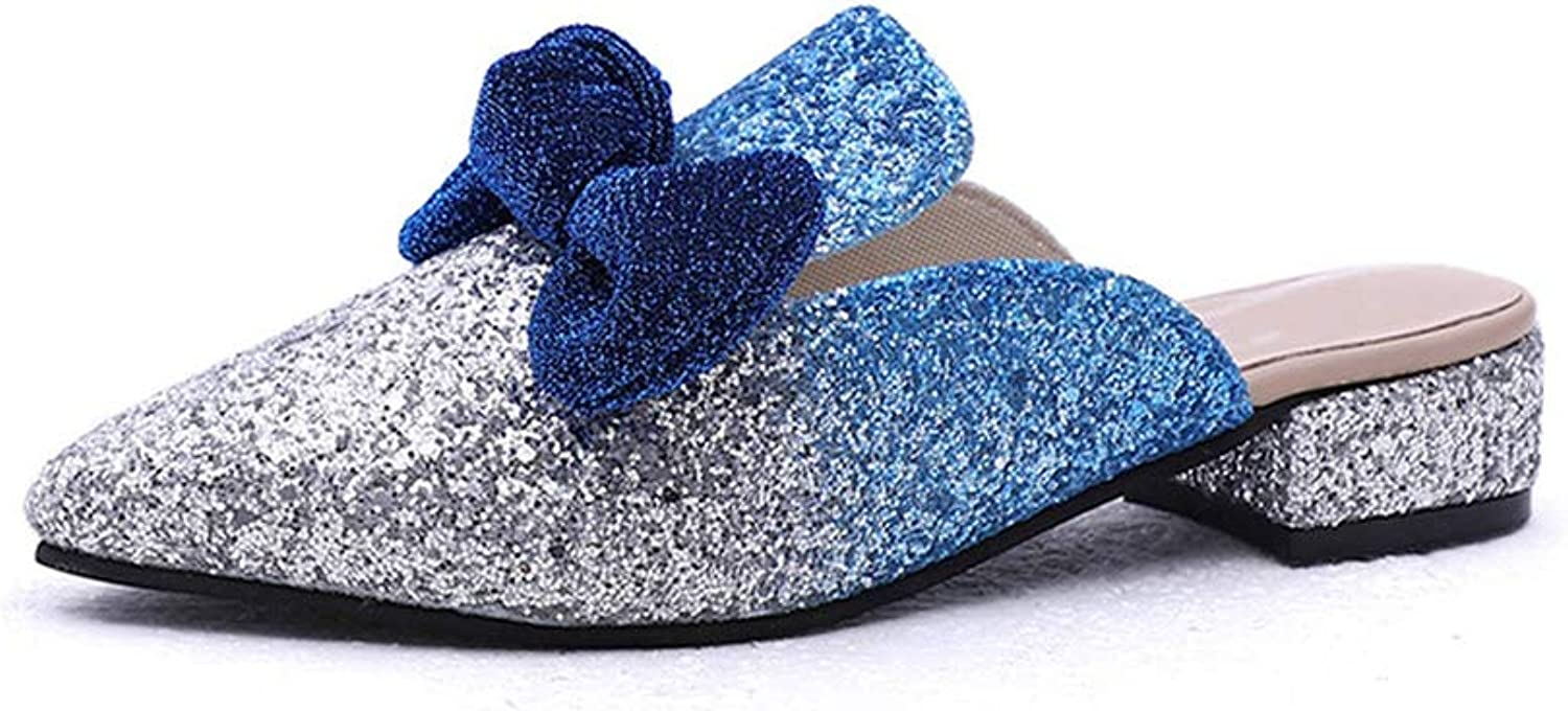 Pointed Toe Bow Sequins Slippers Women Bling Mules shoes Slides Flip Flops Sandals