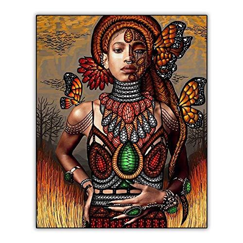 Saclieky Pinturas Diamantes DIY 5D Chica Serpiente Africana con Mariposa 5D Diamond Pintura,Cuadros Punto de Cruz Kit de Diamantes completode imitación para Manualidades