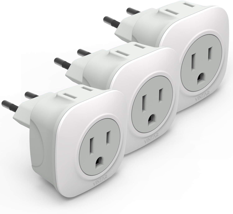 3-Pack European Travel Plug Adapter International VINTAR OFFicial Wholesale Powe