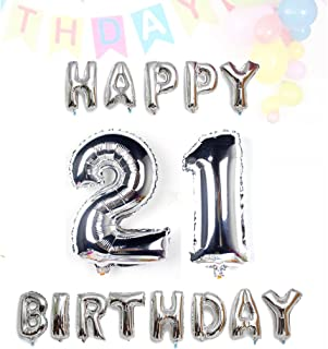 AZOWA Big 21 Balloons Jumbo Number 21 Balloons with Silver Happy Birthday Letter Balloons for 21 Birthday Party Decorations (Silver, Number balloon 40 in, Letter balloon 16 in)