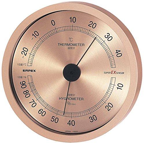 エンペックス気象計 温度湿度計 スーパーEX 温湿度計 壁掛け用 日本製 シャンパンゴールド EX-2728の写真