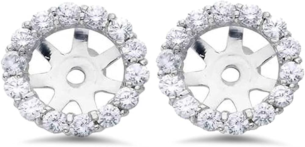 3/4ct Diamond Halo Earring Studs Jackets 14K White Gold (6-6.7mm)