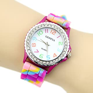 Estone® Women Girl Multicolor Geneva Silicone Crystal Bling Fashion Designer Wrist Watch