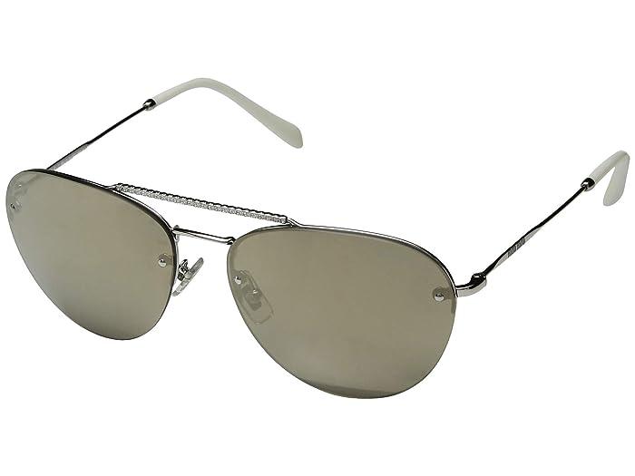 Miu Miu 0MU 54US (Light Brown/Mirror Gold) Fashion Sunglasses