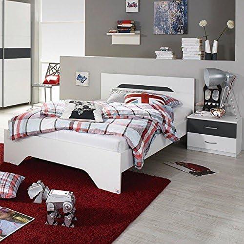 Jugendbett inkl. 2 Nachtkommoden 100200cm   Weiß  grau metallic Jugendliege Kinderbett Bettliege Bett G ezimmer Jugendzimmer Kinderzimmer